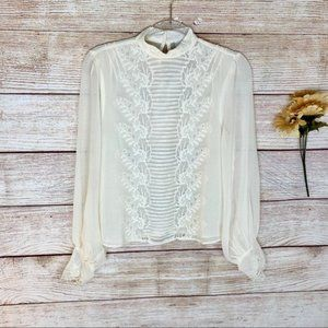 Topshop Tall Idol Ivory Embroidered Cutwork Blouse